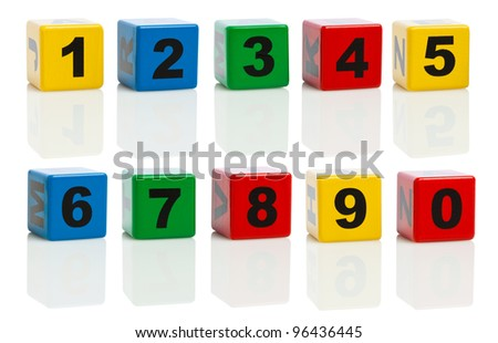 Building Blocks With Numbers From 0 to 10, isolated on white background. Ultra High Resolution Composing.