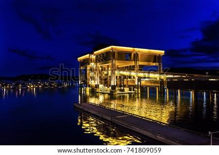 Building Boardwalk Marina Piers Boats Reflection Night Boardwalk Marina Piers Boats Reflection Lake Coeur d' Alene Idaho #741809059