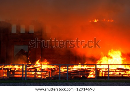 building burning down
