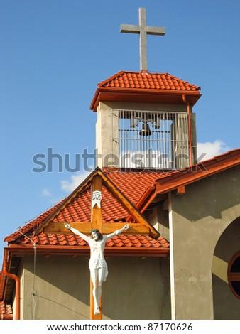 building Catholic chapel in Dyrdy, parish Miotek in Poland