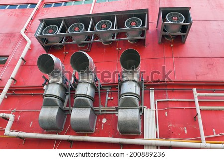Building Commercial HVAC Heating and Cooling System Exhaust Fans and Vents