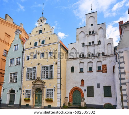 Building complex of old buildings - The Three Brothers - Riga, Latvia #682535302