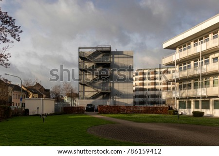 building complex with external staircase #786159412