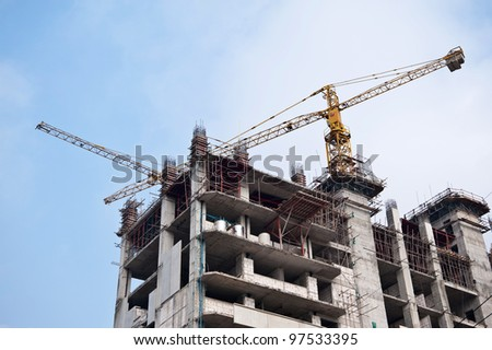 building construction and nice blue sky - stock photo