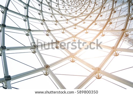 building construction of metal steel framework outdoors - Shutterstock ID 589800350