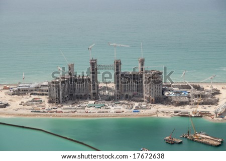 Building Construction On The Head Of The Jumeirah Palm Island In Dubai