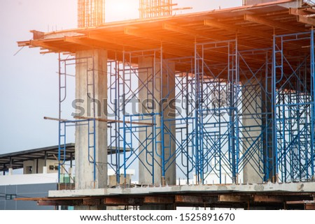 Building construction site,Construction site along with the evening sun. #1525891670