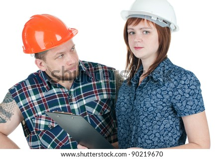 Building contractor and female engineer at work, isolated over a white background