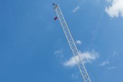 Building Crane Blue Sky White Clouds