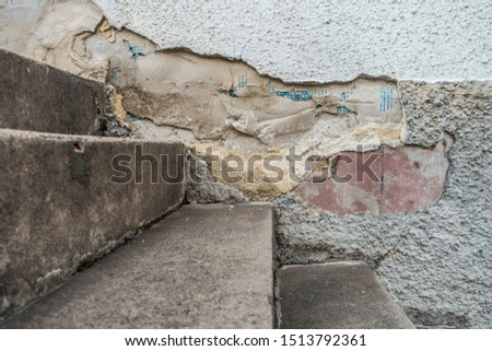 Building damage to the house wall due to dampness