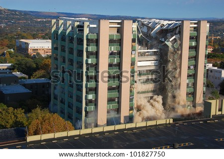 Building demolition by implosion - image 4 of a 10 shot sequence