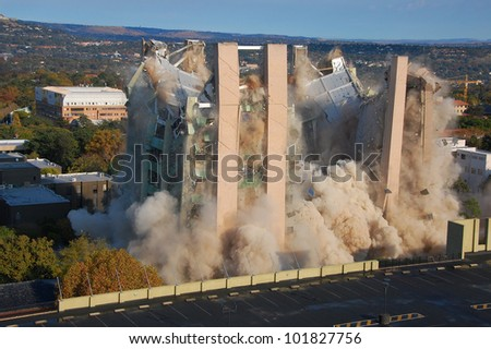Building demolition by implosion - image 7 of a 10 shot sequence