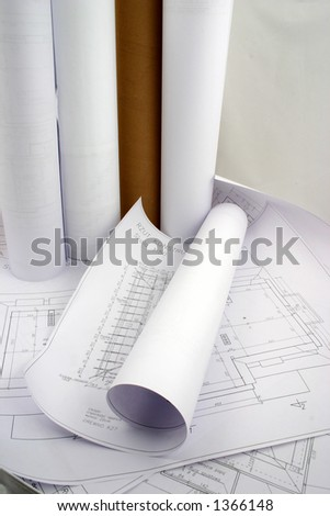 "Building designs, some in a rolls of paper. ""Rzut"" is not a company name. It means projection, view from the top."