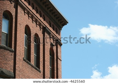 Building detail and blue sky.