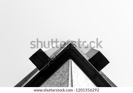 Building detailed corner angle. Minimal architectural detail and design. Abstract architecture photography. Building exterior facade corner.