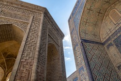 Building details. The Mosque Kalyan. One of the oldest and largest Mosque in Central Asia. Main cathedral mosque of Bukhara, Uzbekistan, Central Asia
