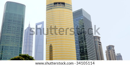 Building exteriors of skyscrapers at the Financial District of Shanghai,China