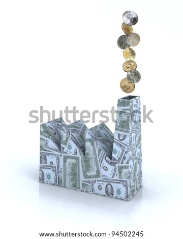 Building factory made of dollar banknotes with dollar coins on white background