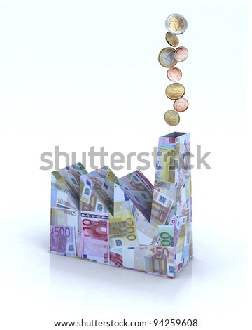 Building factory made of euro banknotes with euro coins come out of the chimney, 3d illustration