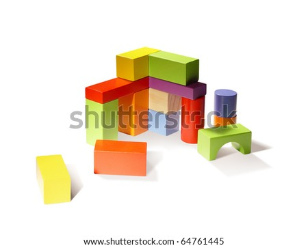 Building from wooden colourful blocks.