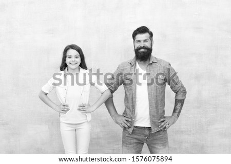 Building good family relationship. Little girl and bearded man enjoying happy relationship. Loving relationship between father and small daughter child. Love and trust in relationship.