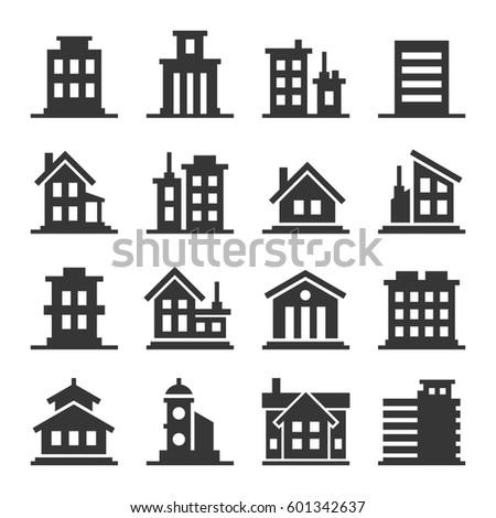 Building Icons Set on White Background. illustration