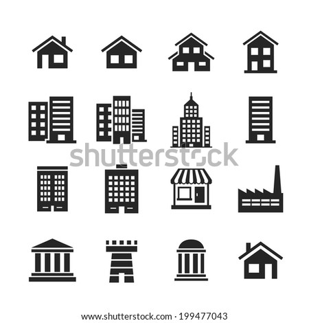 Building Icons Set. Raster illustration. Simplus series
