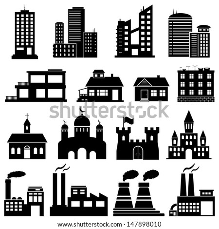 Building Icons Set. Raster version. Vector version is also available.