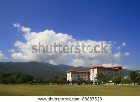 Building in grass field, Thailand
