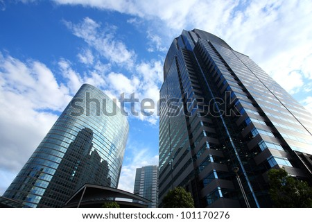 Building in Japan background of blue sky