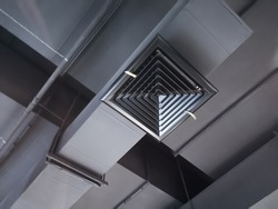 Building interior Air Duct, Air Condition pipe line system Air flow in store