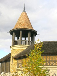 building is in the Gothic European style with a turret