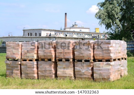 Building material bricks in front of the factory on the pallet