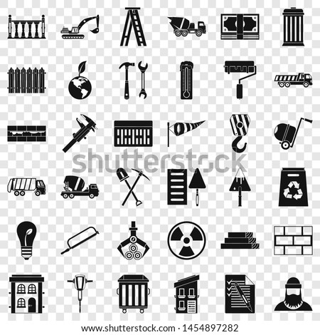 Building material icons set. Simple style of 36 building material icons for web for any design
