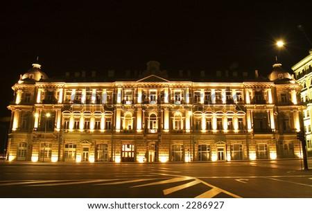 Building nicely lit with illumination - Baku, Azerbaijan