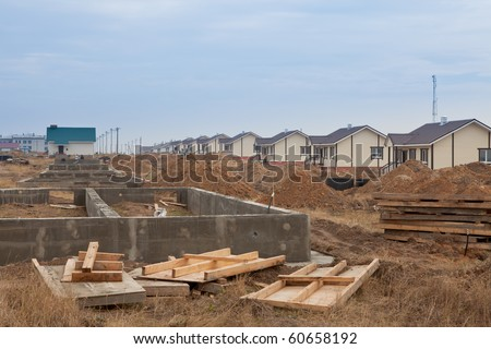 Building of a standard country-house - stock photo
