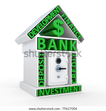 Building of bank and the safe, abstract design on a white background