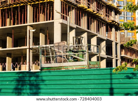 building of concrete building and building cradle #728404003