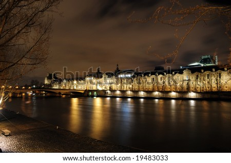 building of institut de France in Paris, France at night