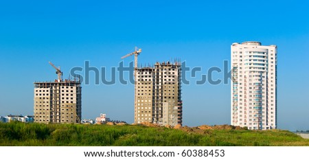 Building of multiroom apartment houses. Three phases of building