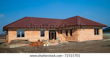 Building of new single family house - under construction
