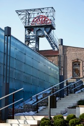 building of old mine shaft and Silesian Museum  in Katowice, Poland