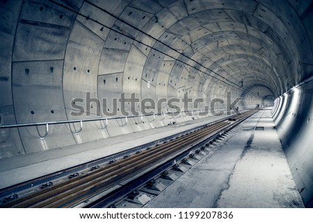 Building of railway tunnel.