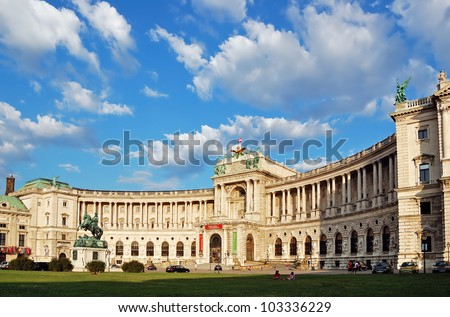 Building of the Austrian National Library under picturesque cloudy sky. Hofburg complex, Vienna, Austria.