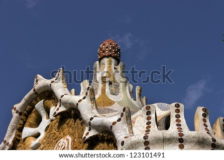 Building of the gatehouse park Guell in Barcelona - Spain