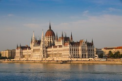 Building of the Hungarian National Parliament in Budapest, Hungary. Notable landmark of Hungary, and a popular tourist destination in Budapest.