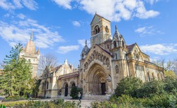 Building of the Vajdahunyad Castle, castle in Budapest, Hungary, designed by Ign���¡c Alp���¡r to feature copies of several landmark buildings from different parts the Kingdom of Hungary