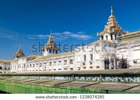 Building of Yangon Central Railway Station, Myanmar stock photo