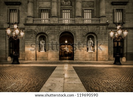 Building on Plaza de la Constitucion, Barcelona