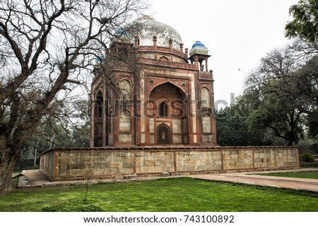 Building on the complex of Humayun's Tomb - New Delhi - India  #743100892